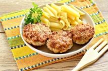 Котлеты из мяса кур с макаронами (250гр.)